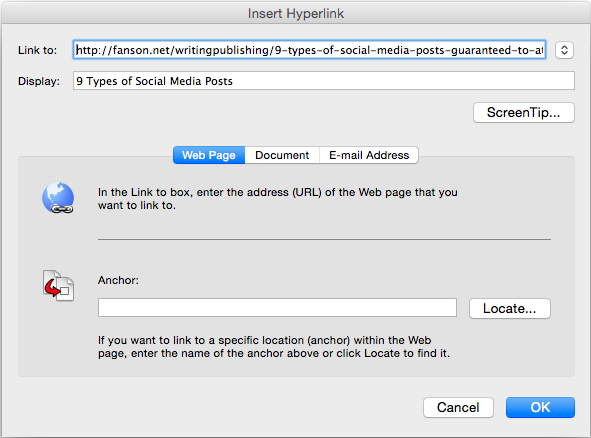 Hyperlinks in MS Word